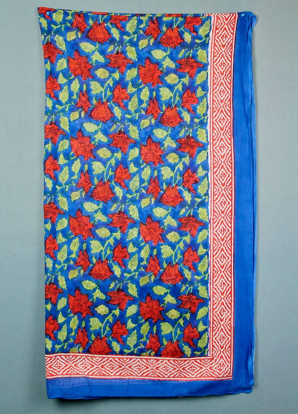 Block printed cotton sarong - royal blue with red roses