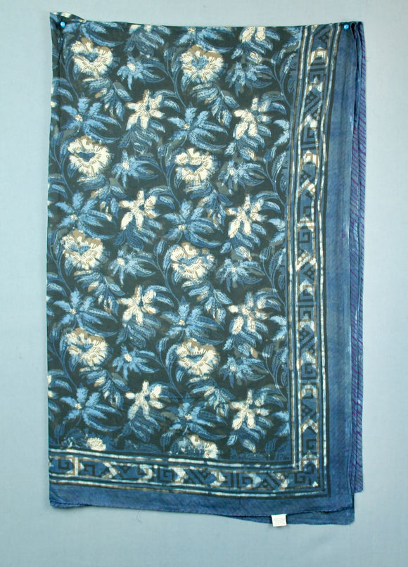Block printed cotton sarong - deep blue