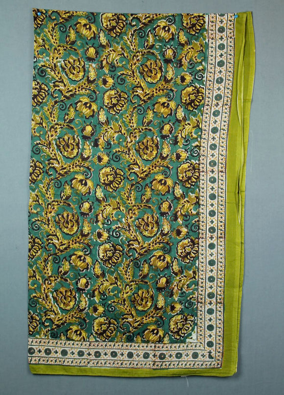 Block printed cotton sarong - green and gold