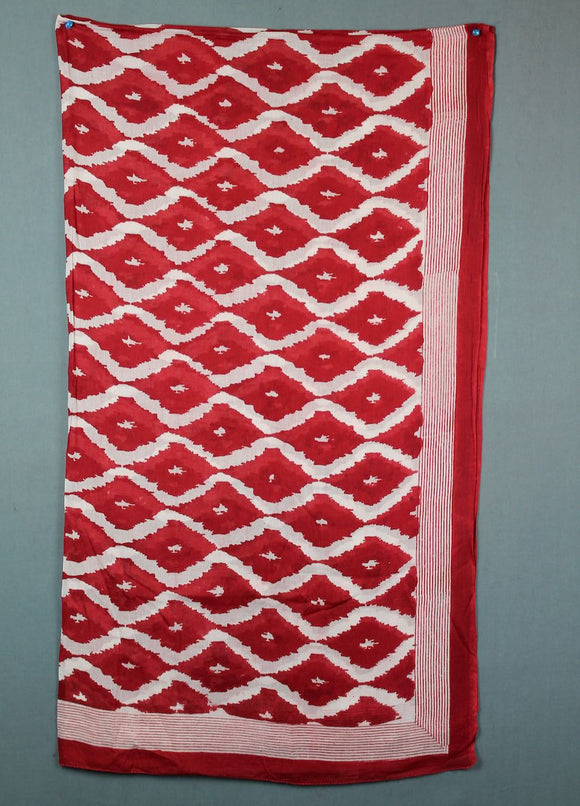 Block printed cotton sarong - red diamond
