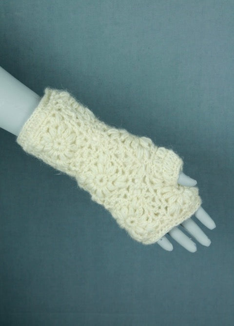 Wool crochet arm warmers