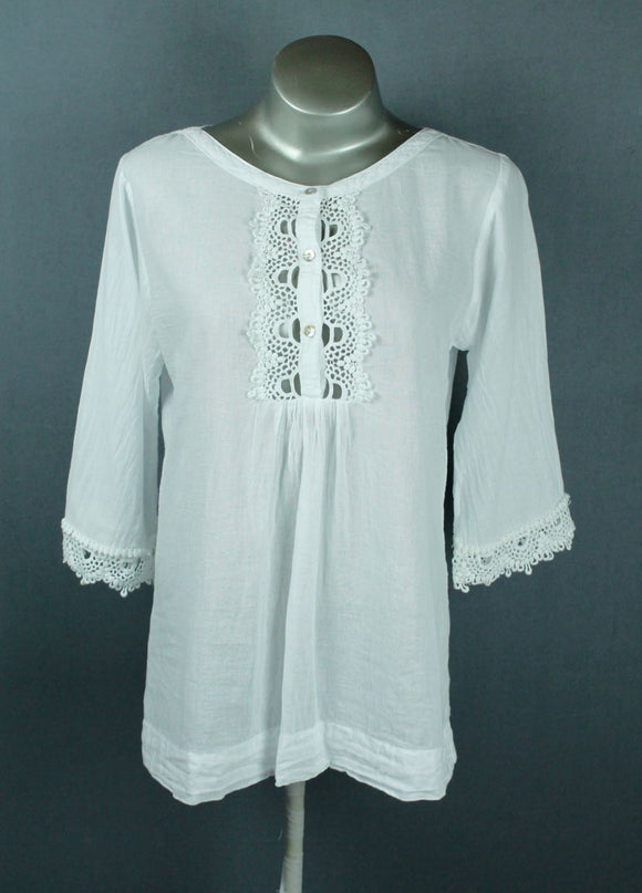 pure cotton lace top with 3/4 sleeves