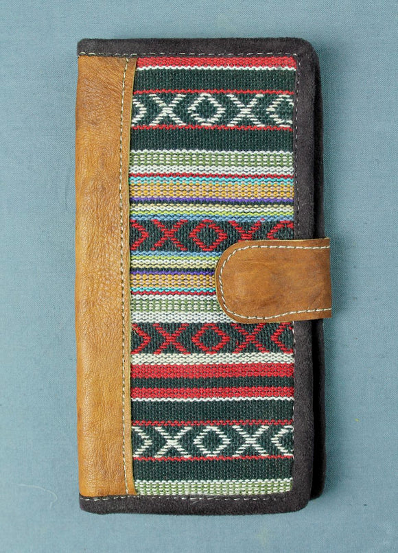 Woven cotton and buffalo leather wallet - red black multi