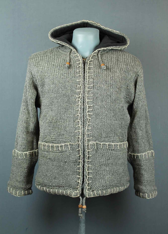 Grey Stitching Wool Jacket