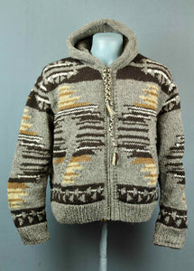 Hand knitted wool jacket - grey brown tan