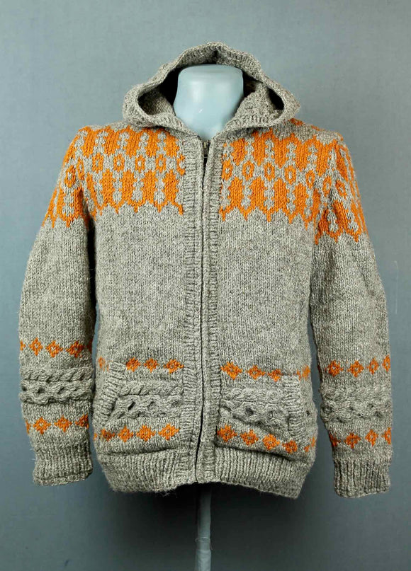 Hand knitted wool jacket - grey with orange