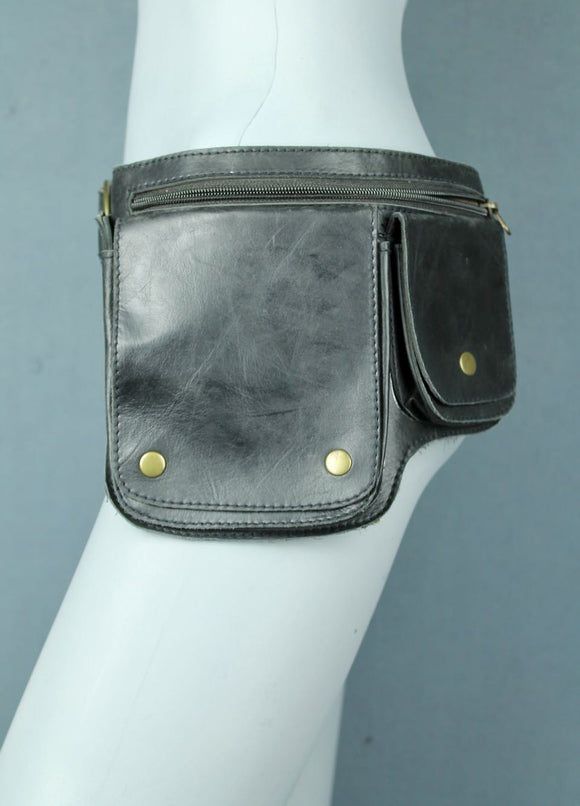 Square Pocket Leather Belt bag