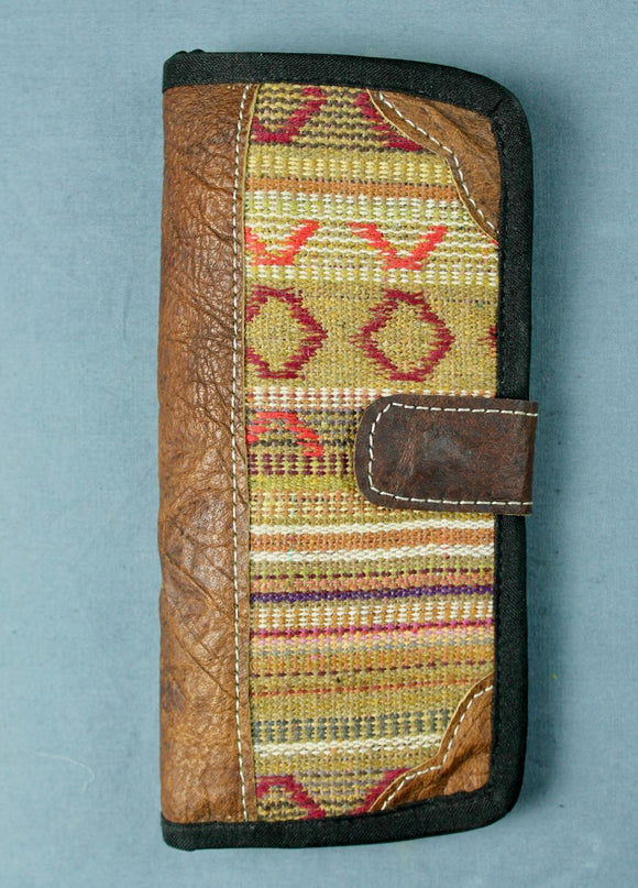 Woven cotton and buffalo leather wallet - tan multi