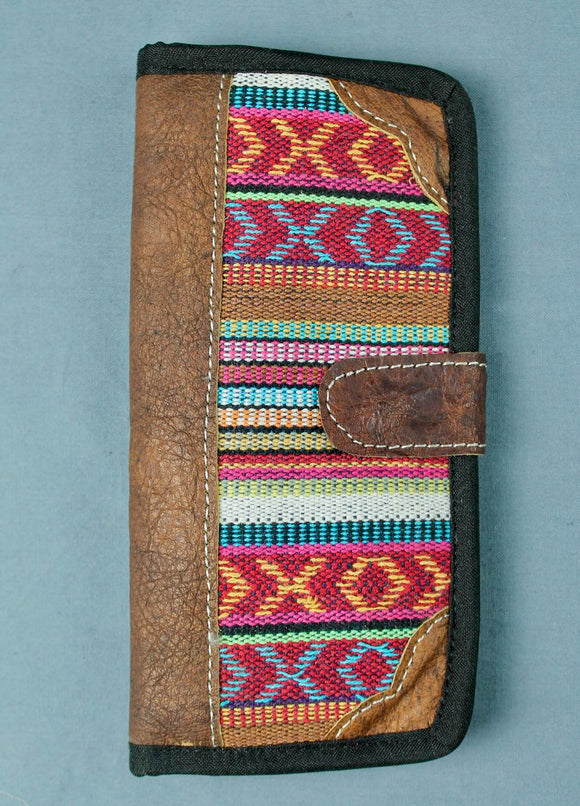 Woven cotton and buffalo leather wallet - pink white multi