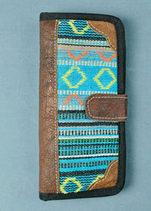 Woven cotton and buffalo leather wallet- blue multi