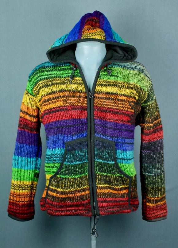 Wool knitted jacket, fleece lining, winter jacket