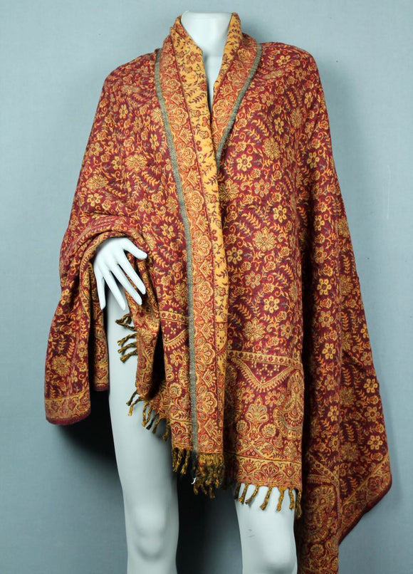 shawl blanket - red gold