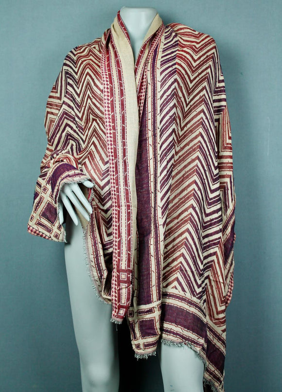Shawl scarf - Red burgundy arrow