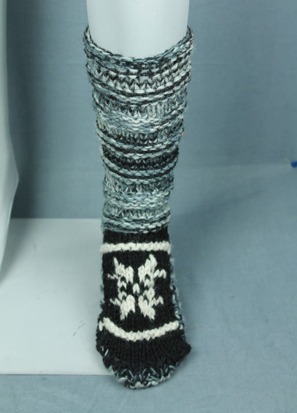 Wool knit socks - black and white multi