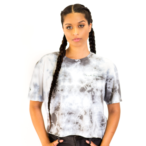 TS Tie-Dye Crop - Black / Grey Acid Wash