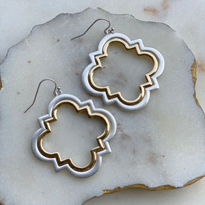 QUATREFOIL TWO TONE METAL EARRINGS