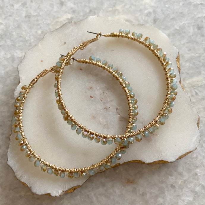 BEADED WRAPPED HOOPS - GREEN/NATURAL