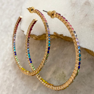 RAINBOW PAVE HOOPS