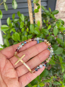 BEADED CROSS BRACELET - MULTI