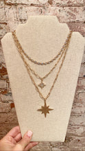 STARBURST THREE STRAND CHAIN NECKLACE