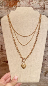 HEART TOGGLE LAYERED CHAIN NECKLACE
