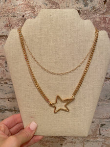 STAR CARABINER LAYERED CHAIN NECKLACE
