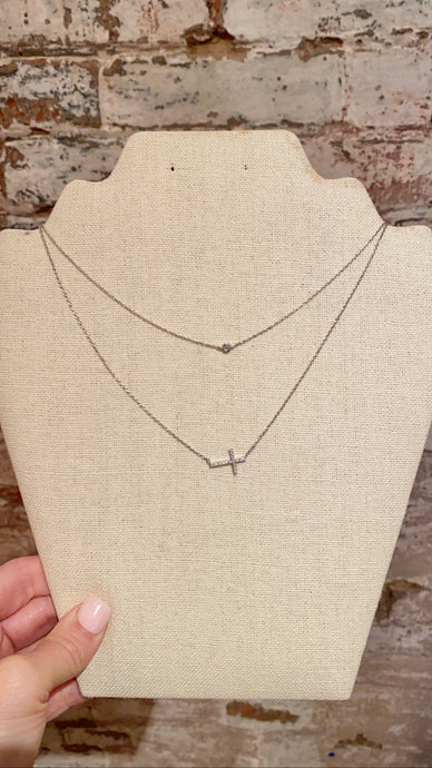 SIDE CROSS DOUBLE STRAND NECKLACE