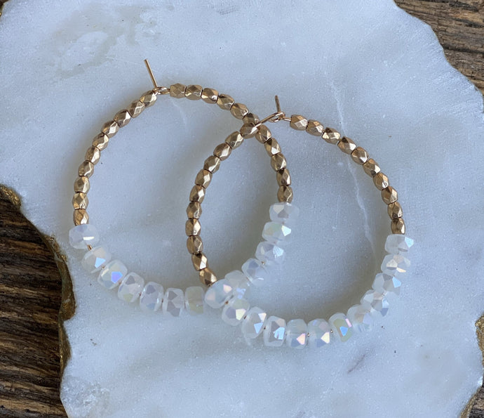 GLASS & METAL BEAD CIRCLE HOOPS