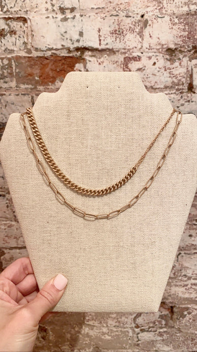 DOUBLE STRAND LAYERED CHAIN NECKLACE