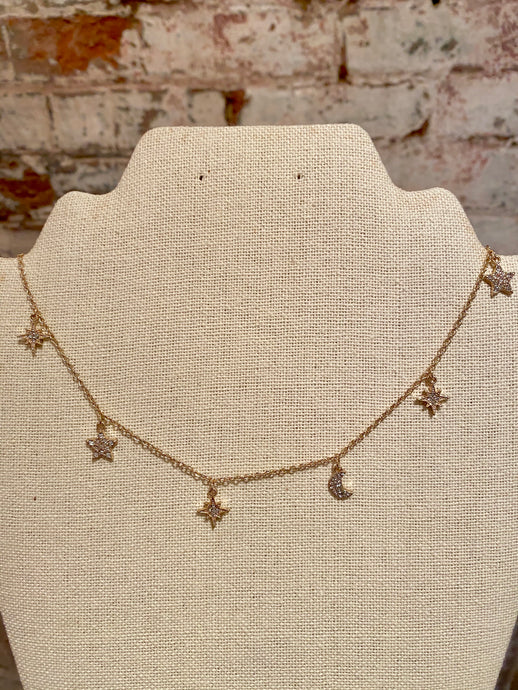 PAVE STAR & MOON NECKLACE - GOLD