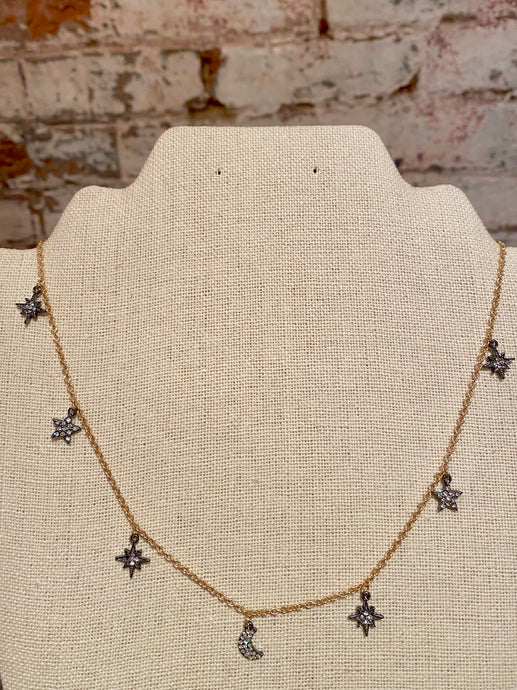 PAVE STAR & MOON NECKLACE - HEMATITE