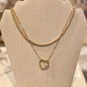 HEART CARABINER DOUBLE STRAND NECKLACE