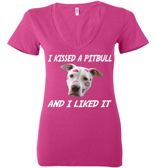 I Kissed A Pitbull (And I Liked It) Ladies Deep V-Neck