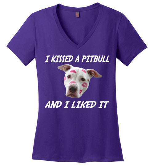I Kissed A Pitbull (And I Liked It) Ladies V-Neck
