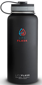 Life Flask Vacuum Insulated Stainless Steel Water Bottle 18oz & 32oz (Comes With 3 Lids & Shaker Ball)