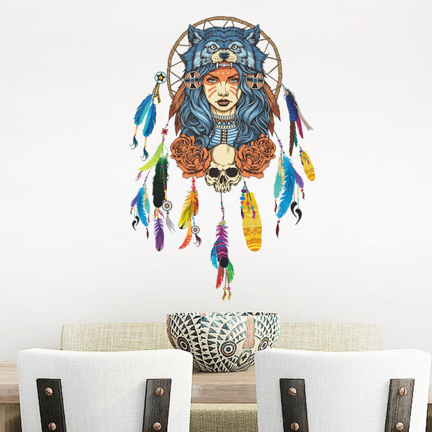 Wolf Girl Dream Catcher Wall Sticker