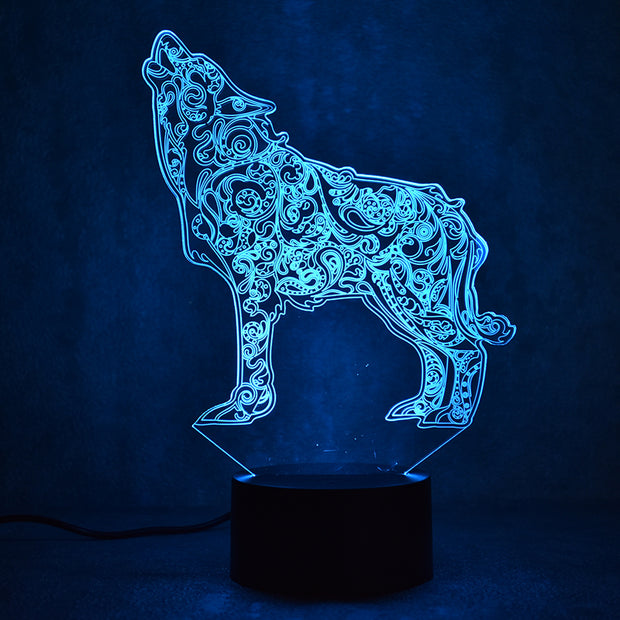 Tribal Wolf Lamp