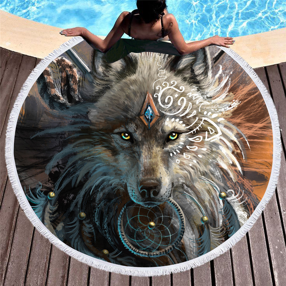 Dream Catcher Wolf Warrior Round Towel