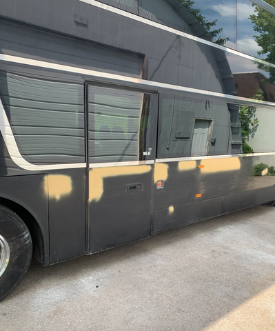 Bus body prepped for paint