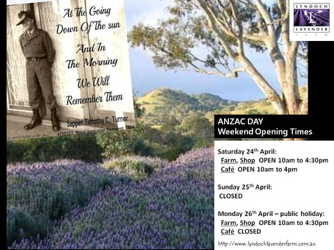 ANZAC DAY Weekend opening times