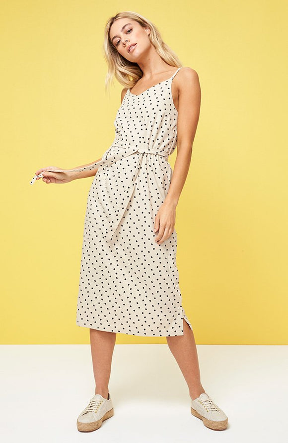 Pip spot button side slip dress by Minkpink. Relaxed fit, waistband, v-neck with adjustable straps, all over polka dot print, Blush and Lace, Oakville, boutique, women's fashion, trendy.