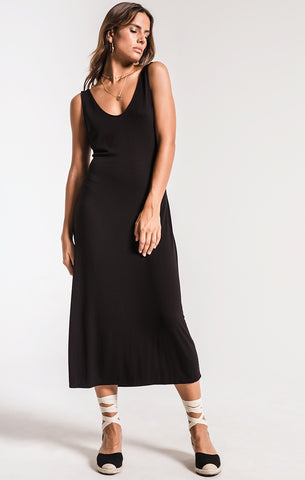 The Madeline tie back dress in black by ZSupply. Silhouette dress, black, tie back, sleeveless, v-neckline, relaxed fit, side slits, Blush and Lace, fashion, quality, boutique, Oakville.