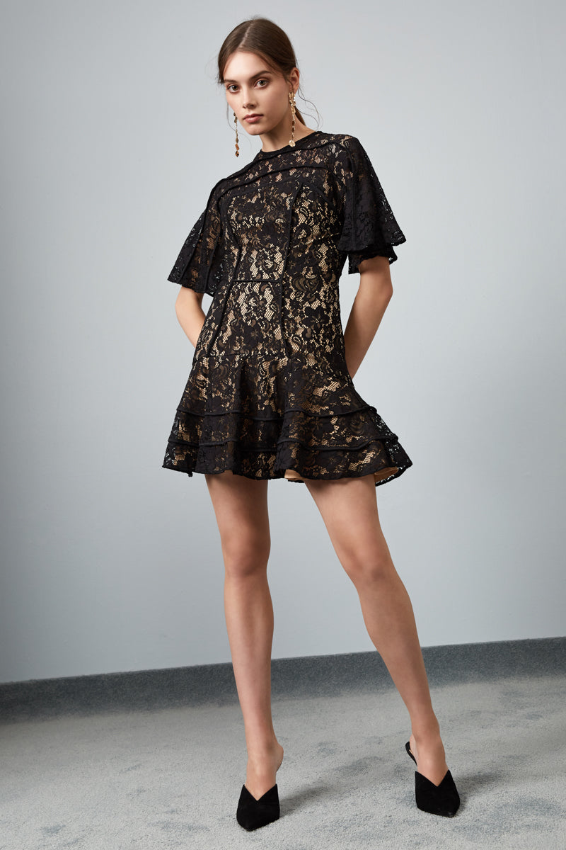 DREAMERS LACE MINI DRESS BLACK