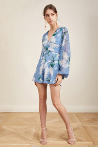 WILD THOUGHTS PLAYSUIT DUSTY BLUE FLORAL