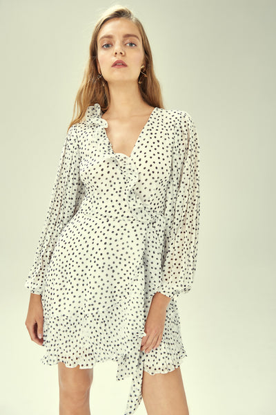 MOONSHINE WRAP DRESS IVORY BLACK SPOT