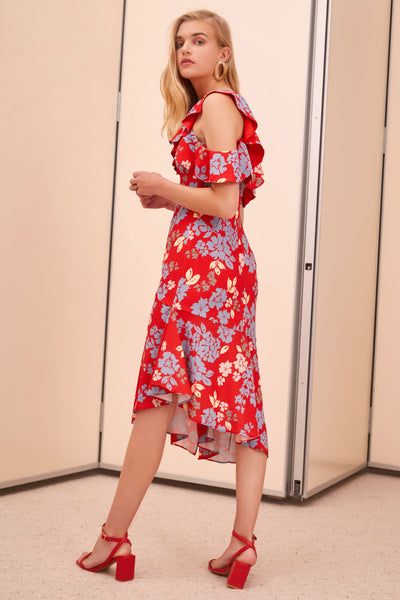 QUESTIONS SS MIDI DRESS RED FLORAL