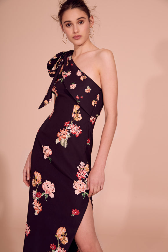 MORNING SKY GOWN BLACK SCATTER FLORAL