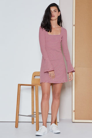 LOCAL STRIPE DRESS BRICK W WHITE