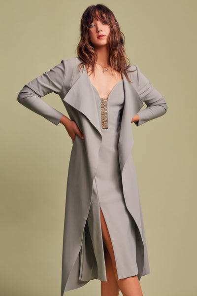 Advance coat sage. Long sage color, heavy stretch crepe fabric coat.  Includes a seperate waist tie belt.  Finders Keepers Australian brand available at Blush and Lace oakville boutique.
