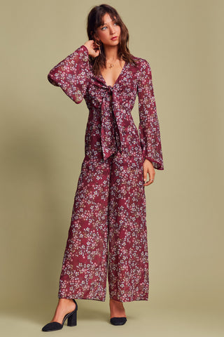 FLUTTER JUMPSUIT FIG FLORAL